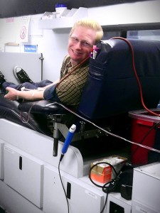 Thomas donated blood!