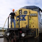 Thomas on a CSX train during a photoshoot