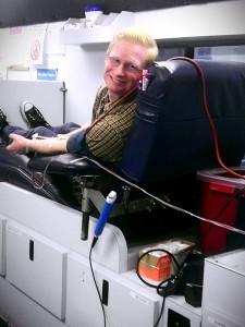 Thomas donated blood!