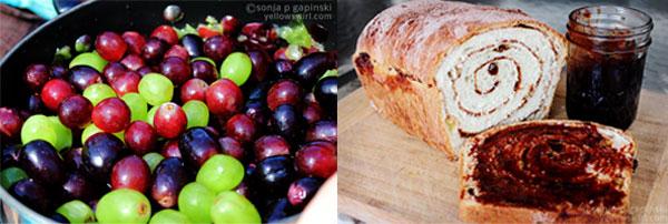Grape jam and cinnamon swirl bread