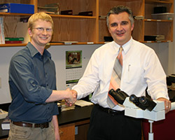 Thomas Gapinski of Motionbuzz with Dr. Vincek, Medical Director of UF PathLabs